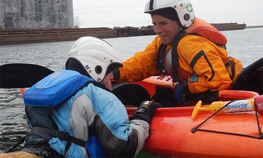 Training for overboard paddler
